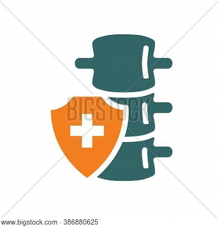 Healthy Protected Spine Colored Icon. Treatment, First Aid For Spine Diseases Symbol
