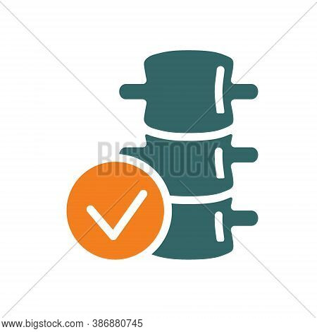 Spine With Tick Checkmark Colored Icon. Healthy Backbone Symbol