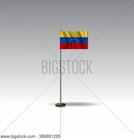 Desktop Flag Vector Image. National Venezuela Flag Isolated On Gray Background.