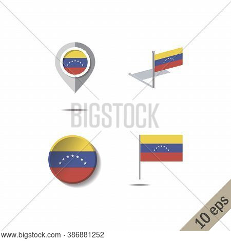 Map Pins With Flag Of Venezuela - Vector Illustration