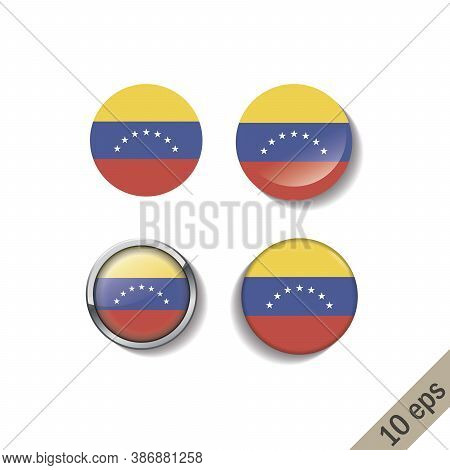 Set Of Venezuela Flags Round Badges. Vector Illustration. 10 Eps