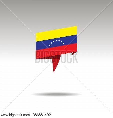 Venezuela Paper Flag 3d Realistic Speech Bubble On White Background