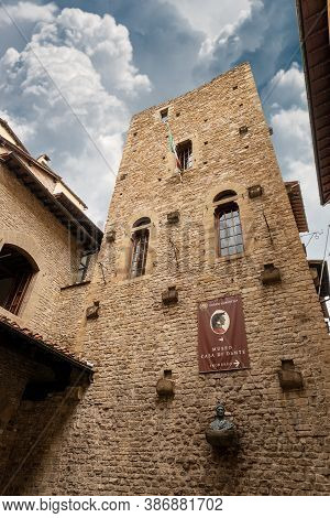 Florence, Italy - Aug 3, 2020: House And Museum Of Dante Alighieri (author Of The Divine Comedy) In