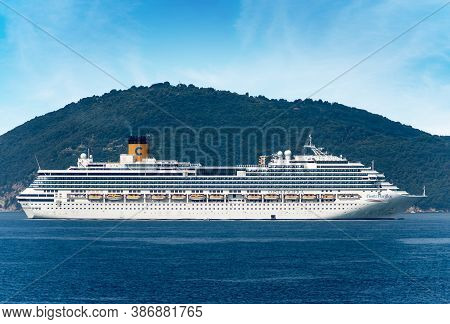 La Spezia, Italy - July 22, 2020: Costa Pacifica Cruise Ship Moored In The Port Of La Spezia, Stoppe