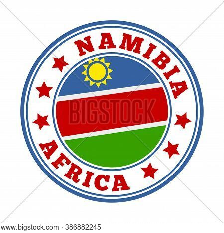 Namibia Sign. Round Country Logo With Flag Of Namibia. Vector Illustration.