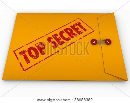 A yellow envelope with a red stamp with the words Top Secret conveying that the information inside is a secret, private, confidential, restricted message poster