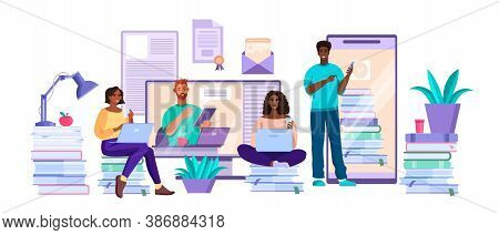 Online University Or College Education Concept With Diverse Young Students And Tutor, Screens. Virtu