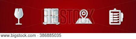 Set Fragile Broken Glass, Cardboard Boxes On Pallet, Placeholder Map And Verification Of Delivery Li