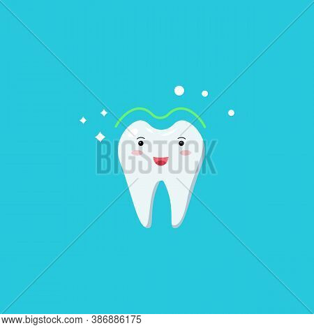 Healthy Cute White Shining Tooth Icon. Teeth Whitening. Good Oral Hygiene Of The Oral Cavity. Childr