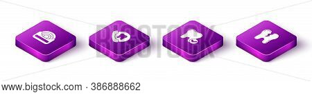 Set Isometric Dental Floss, Online Dental Care, Tooth Whitening Concept And Broken Tooth Icon. Vecto
