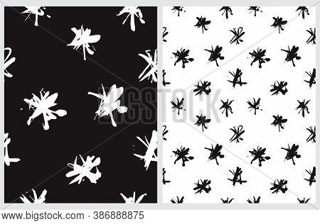 Cute Abstract Spots Vector Pattern. White And Black Irregular Brush Spots On A White And Black Backg