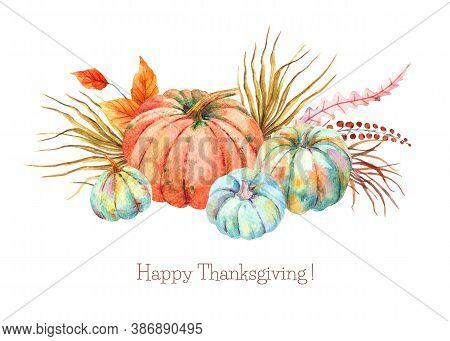 Watercolor Boho Fall Floral Blue Orange Pumpkins Bouquet. Thanksgiving Decor, Autumn Terracotta, Ora