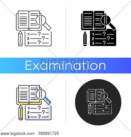 Reading Examination Icon. Comprehension Practice Tests. School And University Education. Text And Sh