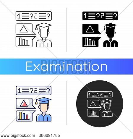 Oral Exam Icon. Student Examination In Spoken Form. Quick Testing. Assess Basic Knowledge. Graduatin