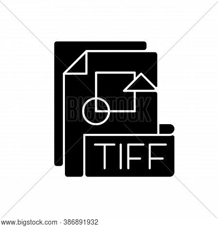 Tiff File Black Glyph Icon. Tagged Image File Format. Tif. Lossless Compression. Image Integrity And