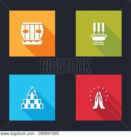 Set Instrument Tabla, Incense Sticks, Yagna And Hands In Praying Position Icon. Vector