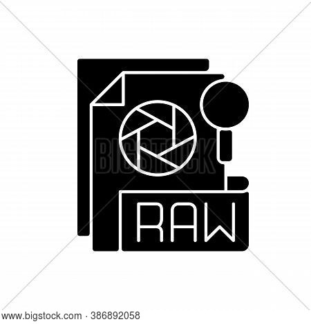Raw File Black Glyph Icon. Camera Raw Image File. File Extension. Uncompressed Images. Digital Camer