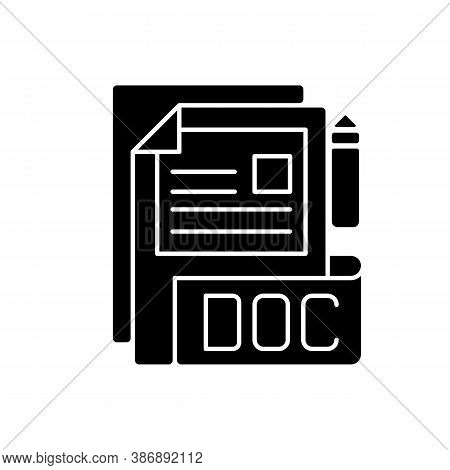 Doc File Black Glyph Icon. Document File Format. Word Processing Software. Formatted Text, Images, T