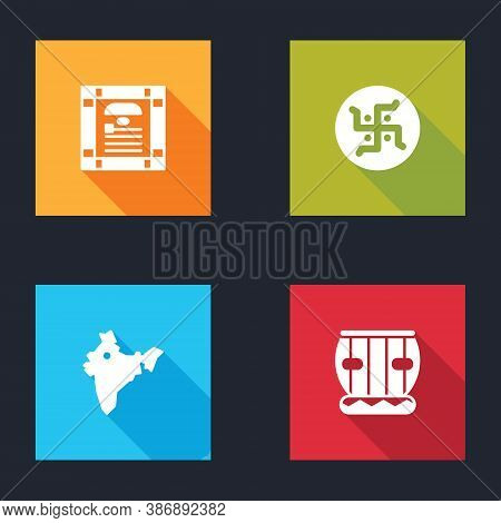 Set India Constitution Day, Hindu Swastika, Map And Instrument Tabla Icon. Vector