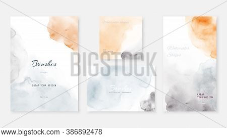 Creative Abstract Template Background Set With Pastel Color Watercolor Stains.  Artistic Stain Vecto