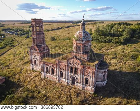 Flight Over An Abandoned Church, Ancient Abandoned And Ruined Church, Dilapidated Red Brick Temple