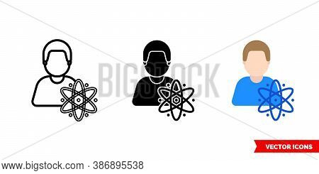 Physicist Icon Of 3 Types Color, Black And White, Outline. Isolated Vector Sign Symbol.