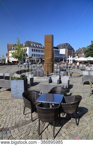 Moenchengladbach, Germany - September 18, 2020: People Visit Alter Markt (old Town Square) Moencheng