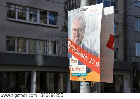 Muelheim A.d. Ruhr, Germany - September 21, 2020: Election Posters Of Cdu Candidate Before Runoff Vo
