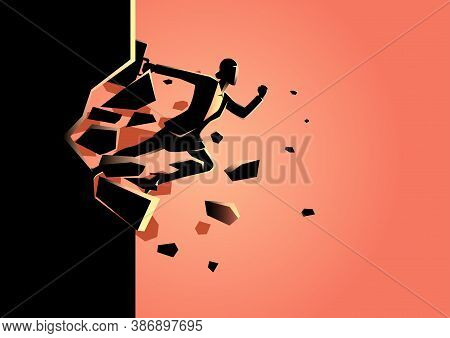 Silhouette Illustration Of A Businesswoman Jump Breaking The Wall. Business, Breakthrough, Success,