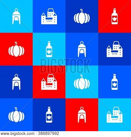Set Winter Hat, Chateau Frontenac Hotel, Pumpkin And Beer Bottle Icon. Vector