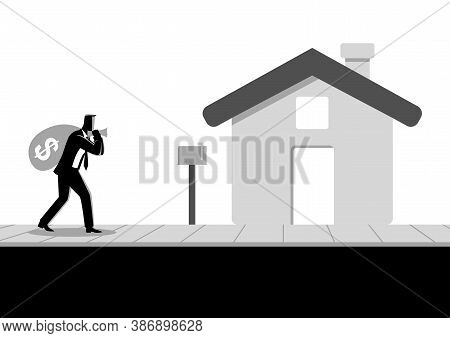 Business Concept Vector Illustration Of A Businessman Carried A Money Bag On His Shoulder To His Hom
