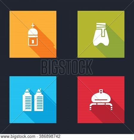 Set Church Tower, Cossack Pants, Two Towers In Dnipro And Bread And Salt Icon. Vector