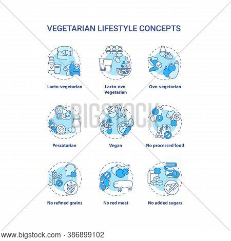 Vegetarian Lifestyle Concept Icons Set. Tasty Diet Types. Healthy Meals. Types Of Vegetarian Diets.