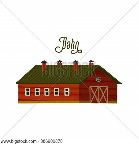 Red Barn. Wooden Barn House In Rustic Retro Style
