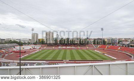 Serbia/novi Sad - June 12, 2020: Empty Football Stadium Or Soccer Stadium In Novi Sad In Serbia On C