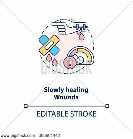 Slowly Healing Wounds Concept Icon. Vitamin Shortages Symptom Idea Thin Line Illustration. Boost Hea