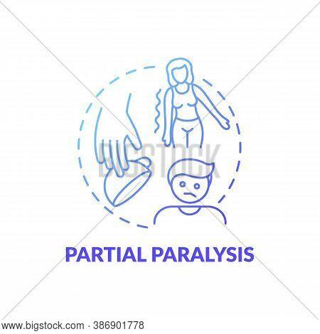 Partial Paralysis Blue Gradient Concept Icon. Patient With Paresis. Problem After Stroke. Neurologic