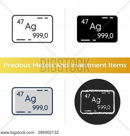Silver Icon. Precious Metal. Bullion For Deposit. Heavy Industrial Production. Treasure Value. Atomi