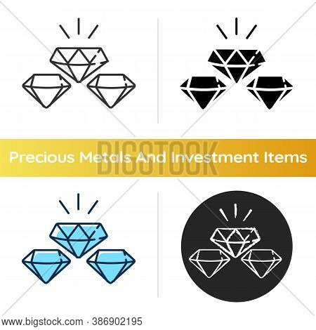Precious Gems Icon. Gemstones For Jewellery. Luxury Diamond. Treasure For Investment. Glowing Brilli