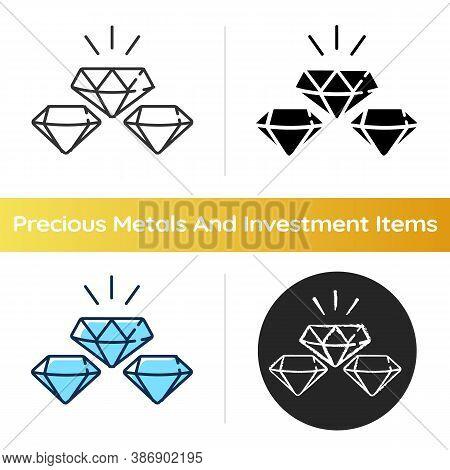 Precious Gems Icon. Gemstones For Jewellery. Luxury Diamond. Treasure For Investment. Glowing Brilli