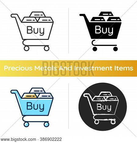 Precious Metals Purchase Icon. Buy Golden And Silver Bars. Platinum Bullion For Sale. Invest Money.