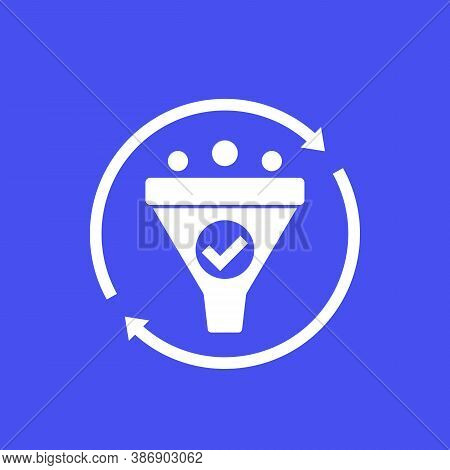 Filtering, Vector Icon With Funnel, Eps 10 File, Easy To Edit