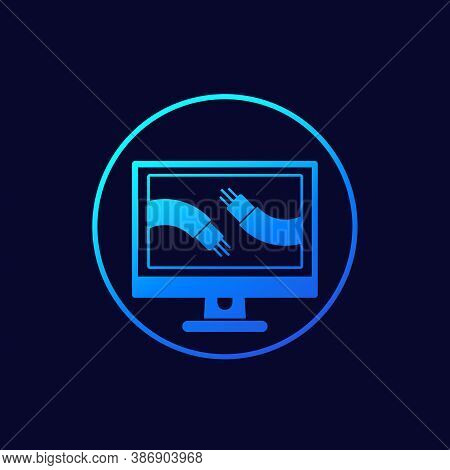Optic Cables On Computer Screen Icon, Vector, Eps 10 File, Easy To Edit