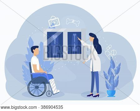 Orthopedic, Medical Concept, Vector Illustration Of Disable Man With Leg Fracture And Doctor. Graphi
