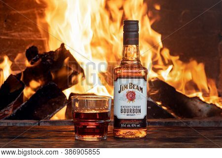 Moscow, Russia - June 30, 2019 : Jim Beam Bourbon Bottle On The Wooden Table Background.