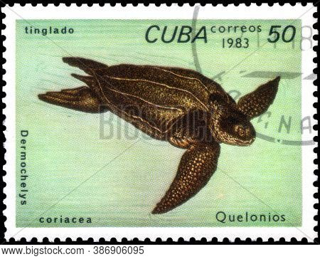 Saint Petersburg, Russia - September 18, 2020: Postage Stamp Issued In The Cuba The Image Of The Lea
