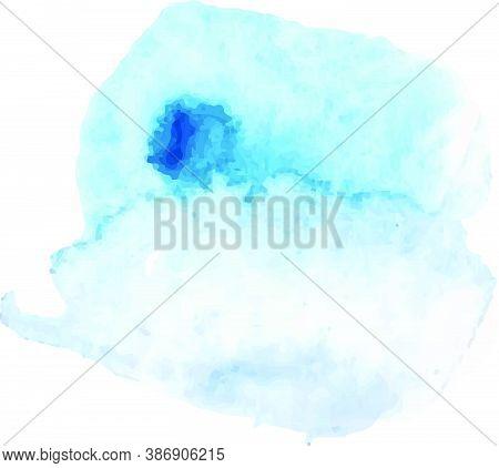 Watercolor Splash Texture. Blue Watercolor Gradient. Beautiful Vector Brush.