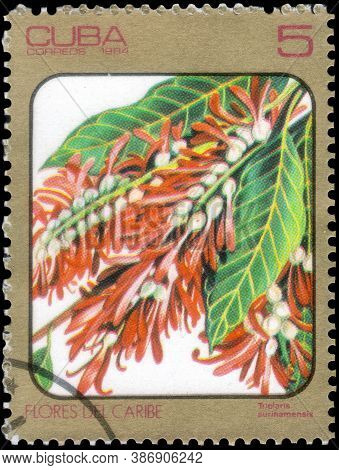 Saint Petersburg, Russia - September 18, 2020: Postage Stamp Issued In The Cuba The Image Of The Tri