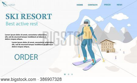 Ski Resort Landing Page, Site Cover, Web Template In Vector Design. Skier Standing, Mountain Snowy L