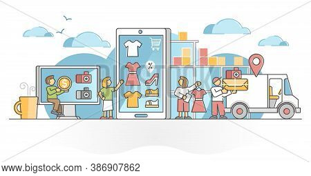 Retail Store Market With Outlet Products Sale To Customers Outline Concept. E-commerce Online Busine